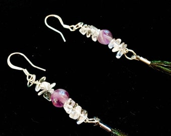 Peacock feather dangle earings with amethyst and quartz beads