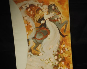 Stunning Vintage Equestrian Wedding Card/Unused in pkg.