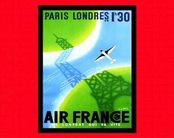 Air France Travel Print 1960 Air France Travel Poster Travel  Travel Airline Poster Paris Poster London