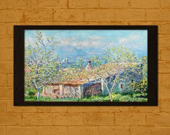 Printed on textured bamboo Art paper - Gardener's House at Antibes 1888 Claude Monet Print  Retro   Impressionism
