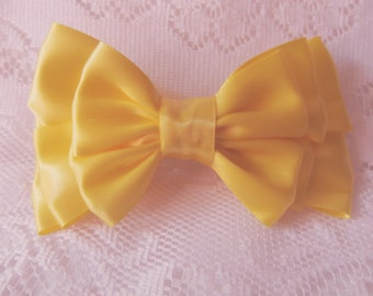 Yellow triple double layered boutique bow