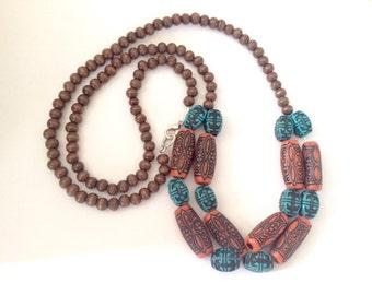 ON SALE! Wood Beaded Tribal/Boho Necklace, Long, Beaded Necklace, Tribal Necklace