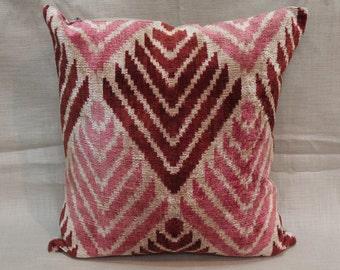 İkat Velvet Pillow Cover, 15'' x 16'' , Decorative Pillow, Handmade Silk Pillow, İkat Lumbar Pillow,  Shipping with Fedex 1-3 days