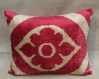 Double Side Ikat Pillow Case -  15.5'' x 18.5'' Decorative Pillows For Couch Sofa Pillows Lumbar Pillow Back Side Silk İkat Pillow Cover