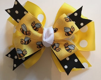 Bumble Bee Hair Bow Spring Hair Bow Yellow and Black Bow Yellow and Black Polka Dot Grosgrain Stacked Bow Honey Bee Ribbon Knotted Center