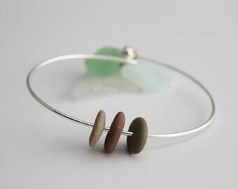 Pebble Bangle, Pebble Bracelet, Pebble Jewellery, Mermaid Jewellery, Mermaid Bracelet, Sea Glass Jewellery, Silver Plated Bangle, Surf
