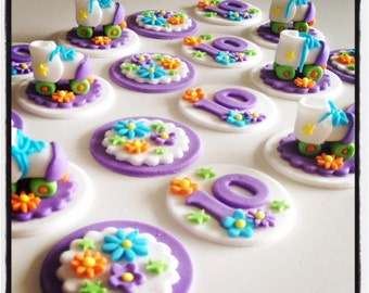 12 x  rollerskate themed Cupcake Toppers