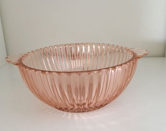Two-Handle Lug Soup Bowl in Queen Mary- Pink by Hocking Glass
