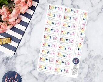 Volunteer Planner Stickers. Set of 21. Perfect for Erin Condren Life Planners! 062