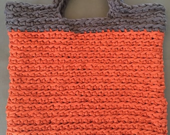 Crochet shopper orange rust gray