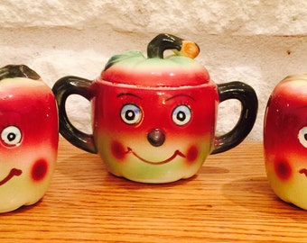 Vintage Anthropomorphic Apple Salt, Pepper, and Sugar Bowl by Elbro