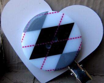 Black, White & Pink Argyle Button Hair Clip