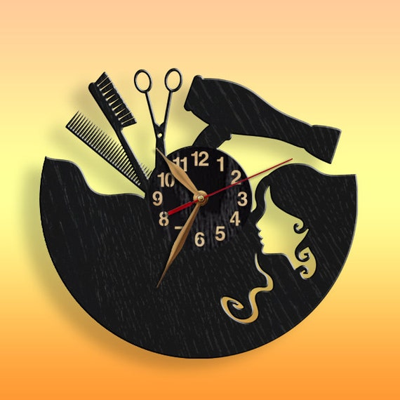beauty salon hair salon clock black wall clock 12 inch30. Black Bedroom Furniture Sets. Home Design Ideas