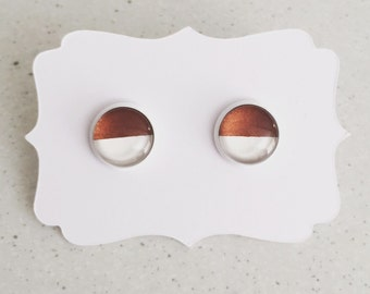 12mm Copper & White Stud Earrings