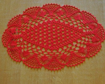 Crochet doily / Oval / Lace / Red (color Nr.25), D-12