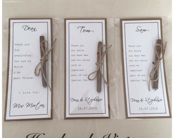 Personalised Cigar Card Gift with rustic Kraft backing for Groom/Groomsmen/Best Man/Father of the Bride.