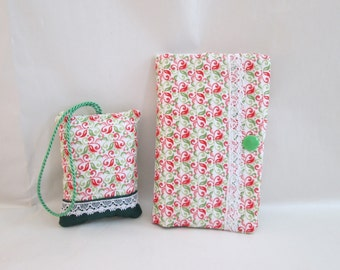 Pincushion and needle book poison red green Pincushion & needle book as