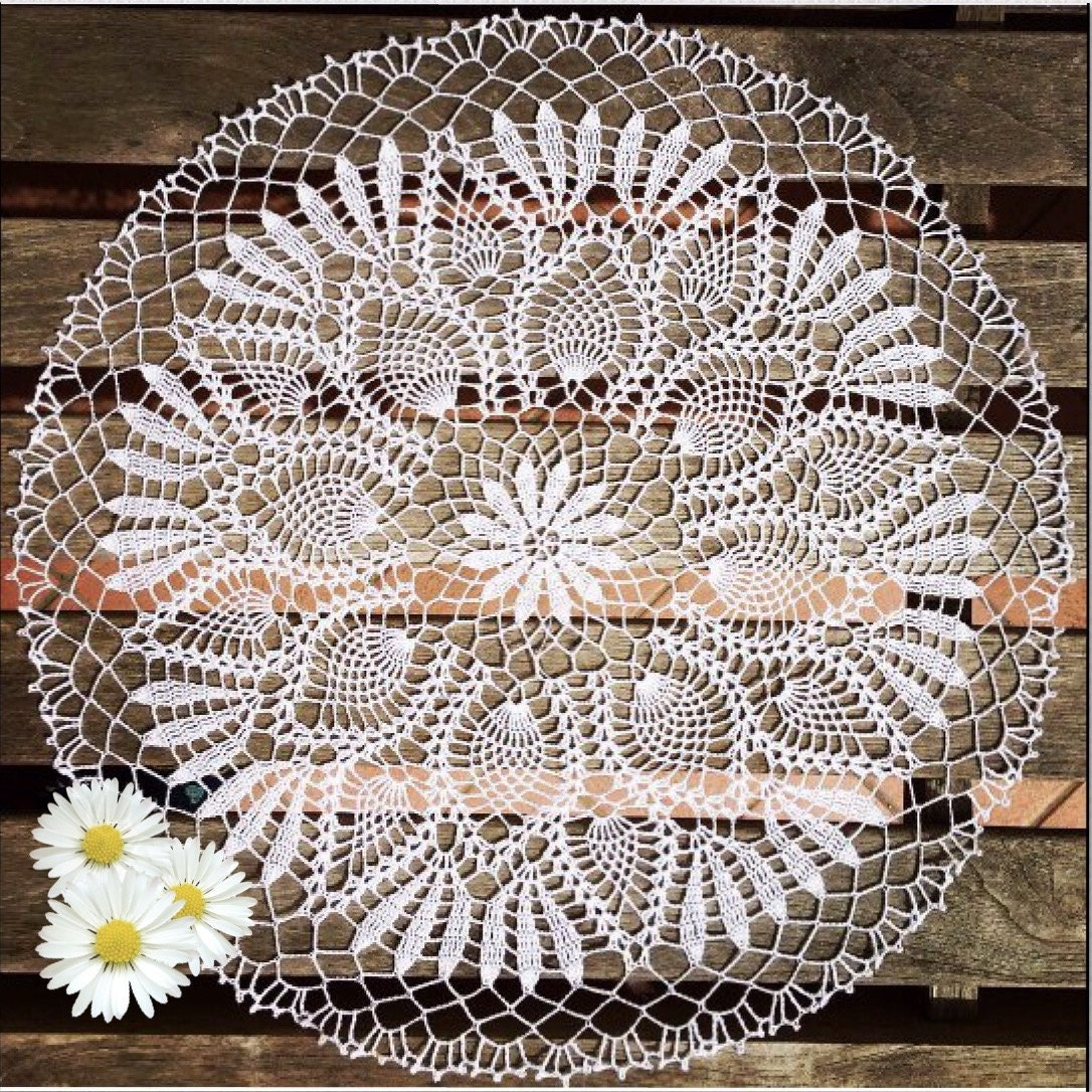 Pineapple Crochet Doily White Crocheted Doilies Table