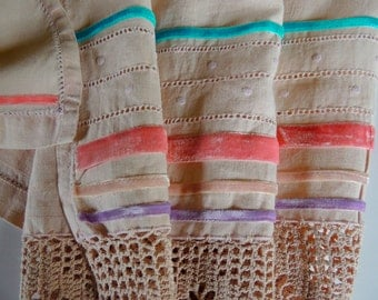 Vintage Table Linen, Blush Tablecloth, Table Runner, Wedding Gift, Hand  Dyed Linen