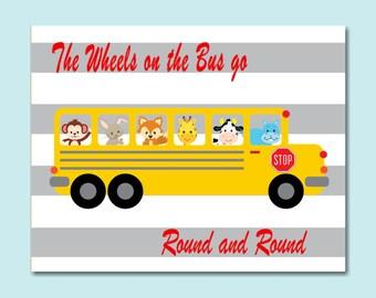 Wheels on the bus Nursery Wall Art, School Bus Wall Art, Wheels on the bus kids wall art,Animal Bus Wall Art,Playroom wall art-10x8 UNFRAMED