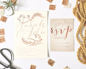 Qty 25 - Copper Calligraphy Wedding Invitations