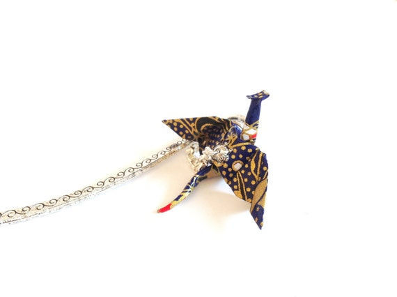 Winged Dragon origami bookmark creature medieval fantasy blue and gold