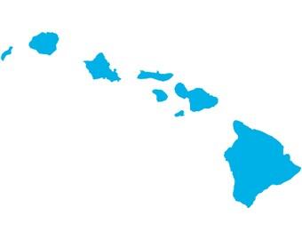 Hawaii State Hawaiian Islands Decal Sticker Car Truck Window Laptop Die Cut Vinyl Select Color/Size 30-0003