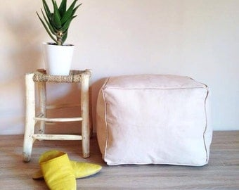 PROMO!!! 2 UNDYED SQUARE Pouf - High-Quality Moroccan Leather Ottoman - Handmade