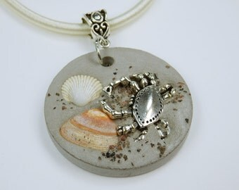 Necklace Clam Beach concrete jewelry on bright silk ribbon concrete silver crab crab sand grains and real mussels concrete jewelry