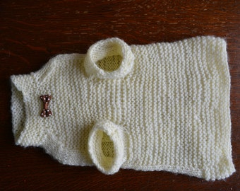 White cat sweater  with wooden beads Hand knitted  sphynx  jumper