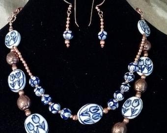Copper and Porcelain Neckace & Earring Set