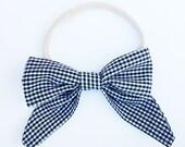 black & white checkered sailor bow