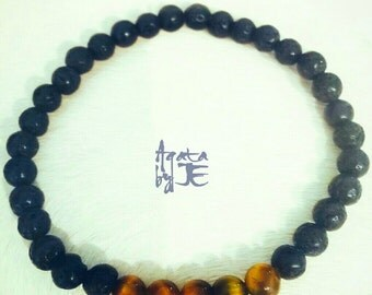 Lava stones and tiger eye stones bracelet