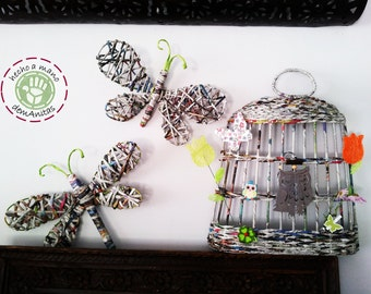 Butterfly, Dragonfly and Bird Cage