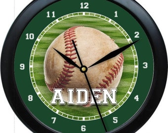 """Baseball Inspired 10"""" Personalized Wall Clock Boy's Room Decor High School College gift Booster Club"""