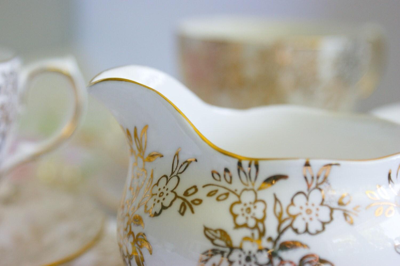 Vintage English China sugar bowl and milk jug afternoon tea dinnerware wedding gift & Vintage English China sugar bowl and milk jug afternoon tea ...
