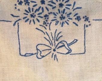 Blue Embroidery Vanity Linen Set - Flowers on White linen; Blue Crochet Edging