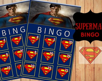 SuperMan Bingo Game with 10 unique Bingo cards and 30 medium calling cards - Printable, INSTANT DOWNLOAD