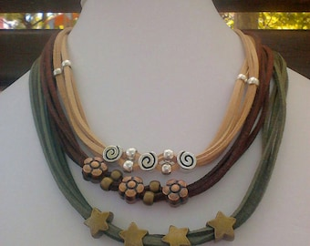 BOHO Choker necklace. Silver and bronze, spiral, flower, star. All colors
