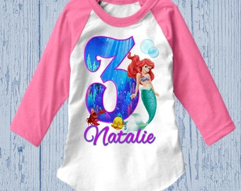 Little Mermaid Birthday Shirt - Ariel Birthday Shirt - Raglan Available