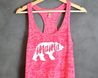 Mama Bear Burnout Tank Top, Gift for Mom, Gift for baby shower, Blue mama top, Mommy Shirt, Baby Shower, Mother's Day Gift