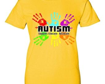 Support Educate Advocate Autism Handprint Women's T-Shirt