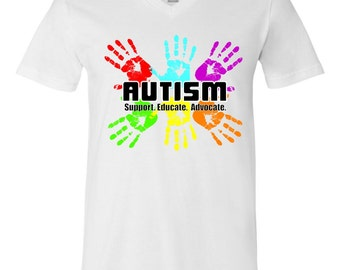 Support Educate Advocate Autism Handprint V-Neck T-Shirt