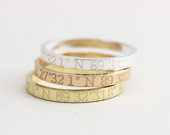 Coordinates Ring / Latitude Longitude Ring / Personalized Latitude Longitude Jewelry / Location Ring / stamped ring / personalized ring. FT1