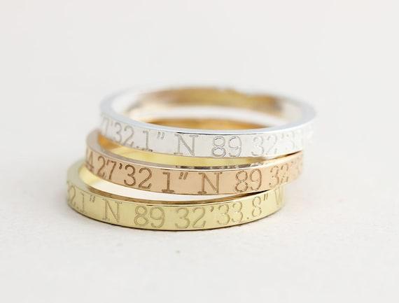 Coordinates Ring / Latitude Longitude Ring / Personalized Latitude Longitude Jewelry / Location Ring / stamped ring / personalized ring. FT1