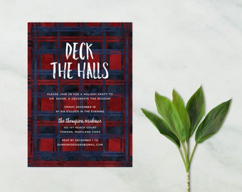 christmas party invitations // deck the halls invites // holiday party invites // tartan plaid // watercolor // printable // custom