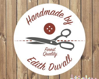 Personalized Handmade by Stickers, Handmade Labels, Packaging Labels, Sewing Labels, Hand Sewn Labels, Dressmaker Stickers, Haberdashery