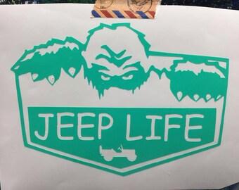 Yeti Jeep Life Decal Sticker Bigfoot Sasquatch Willy