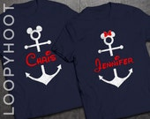 3x Disney Cruise Shirts w/ Personalized Anchor on NAVY and glitter