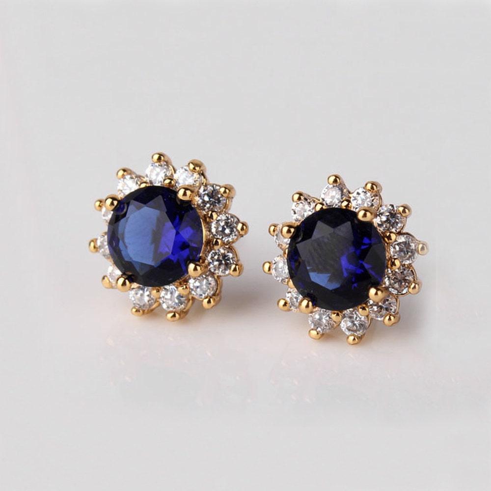 Blue Sapphire Earrings 14k Yellow Gold Filled Sapphire
